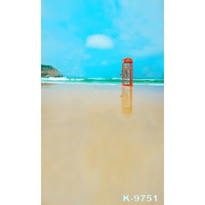 Red Telephone Booth by Seaside Beach Photography Photo Backdrops