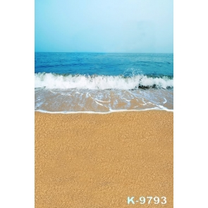 Scenic Blue Sea Sand Beach Photography Backgrounds and Props