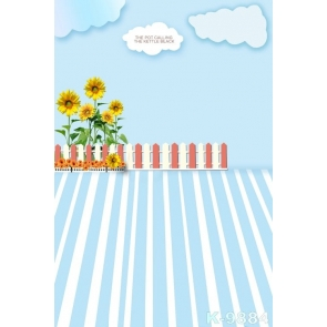 Blue Sky Yellow Sunflowers Children's Photography Backdrops