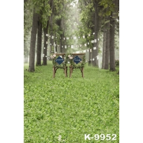 Couple Chairs in Green Forest Wedding Photography Backgrounds and Props