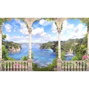 Beautiful Lakeside Roman Column Scenic Stage Background Drops
