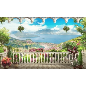 Scenic Spot Lakeside Balcony Wedding Backdrop Studio Theatreworld Photography Background Prop