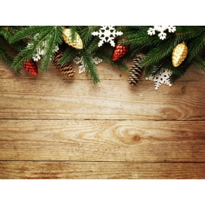 Christmas Leaf Pine Fruit Rustic Wood Christmas Backdrop Party Photography Background