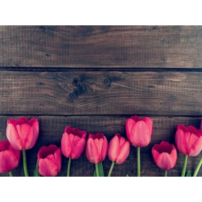 Tulips Flowers Wood Backdrop Wedding Bridal Shower Photography Background
