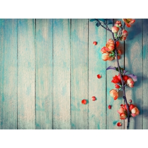 Light Blue Wood Backdrop With Flowers Baby Shower Photography Background