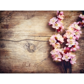 Rustic Wood Backdrop With Flowers Photography Background