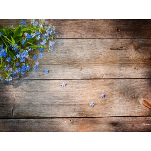 Rustic Wood Backdrop With Blue Flowers Photography Background