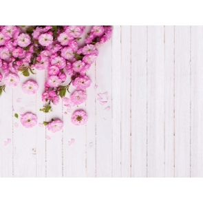 Rustic White Wood Plank Backdrop With Flowers Photography Background
