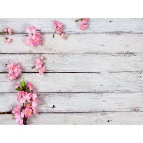 Vintage White Wood Plank Backdrop With Flowers Photography Background