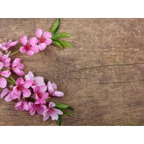 Rustic Wood Board With Flowers Backdrop Photography Background