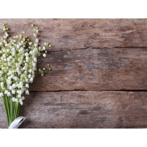 Dark Faux Wood Board With Flowers Backdrop Photography Background