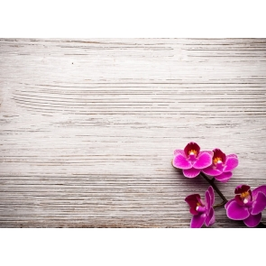 Horizontal Texture Wood Wall Photo Backdrop with Rose Red Flowers