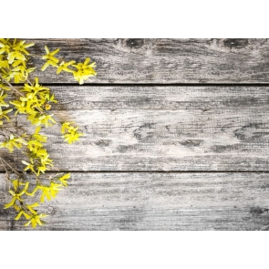Horizontal Texture Wood Wall Photo Backdrop with Yellow Flowers