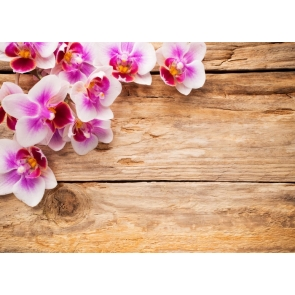 Horizontal Texture Brown Wood Photo Wall Backdrop with Flowers