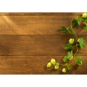 Green Cane Vine Flower Buds Wood Backdrop Background for Photography