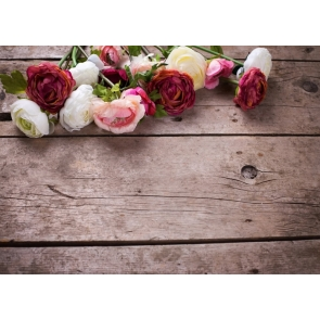 Horizontal Texture Wood Photography Background Props with Colorful Flowers