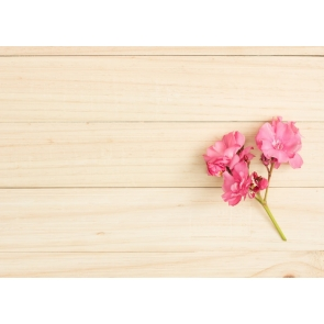 Burlywood Horizontal Texture Wood Wall Picture Backdrops with Flowers