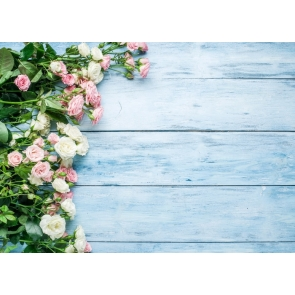 Pink White Roses Flowers Wood Photo Wall Backdrop