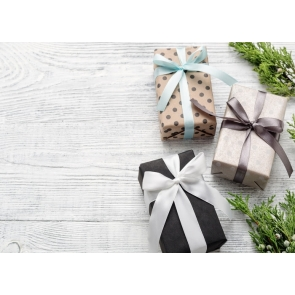 Small Gift Boxes on Wood Floor Background Drops for Photography for Christmas