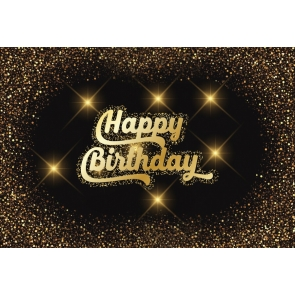 Personalized Gold Glitter Happy Birthday Backdrop Party Photography Background