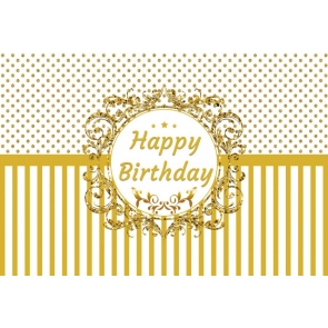 Personalized Gold Polka Dot Striped Happy Birthday Backdrop Party Photography Background