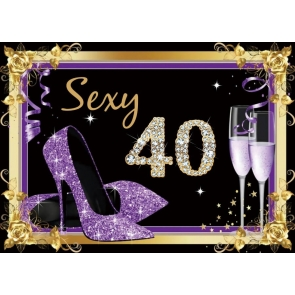 Purple High Heels Theme Women 40th Birthday Backdrop Banner Party Photography Background