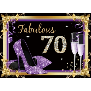 High Heels Theme Women 70th Fabulous Birthday Backdrop Party Photography Background