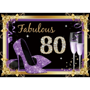 Purple High Heels Women 80th Fabulous Birthday Backdrop Party Photography Background