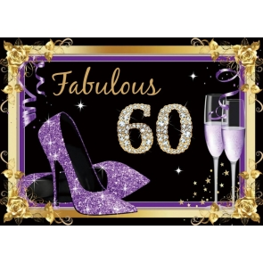 Purple High Heels Women Happy 60th Party Birthday Photography Background