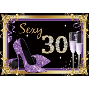 Purple High Heels Women Sexy Happy 30th Birthday Backdrop Party Photography Background