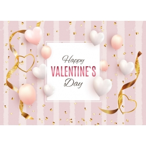 Love Balloon Pink Wall Background Happly Valentine's Day Backdrop