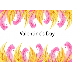 Purple Yellow Leaf Shape Feather Valentine's Day Backdrop