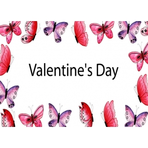Purple Red Butterfly Valentine's Day Backdrop Photography Background