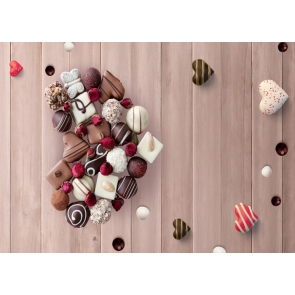 Sweet Chocolate Heart Shape Wood Board Valentine's Day Backdrop
