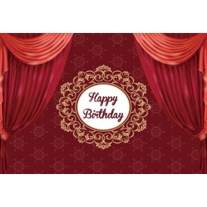 Red Curtain Theme Happy Birthday Backdrop Party Photography Background
