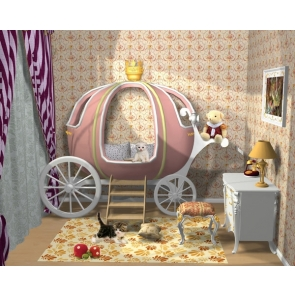 Lovely Cartoon Bed Kid Bedroom Backdrop Video Background Photography Decoration Prop