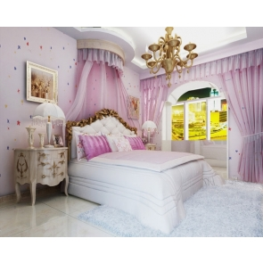 Luxury Big Bed Purple Bedroom Backdrop Decoration Prop Video Photography Background