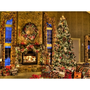 Chritmas Tree Gifts Indoor Backdrop Background for Photography