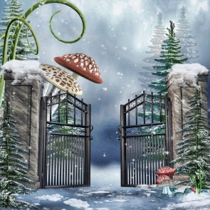 Winter Snow Gate Mushrooms Christmas Party Photo Drop Background