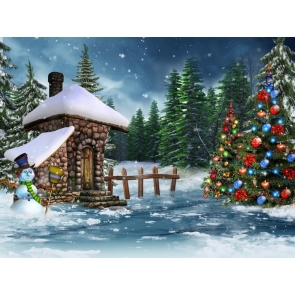 Snowman Christmas Trees Outdoor Scenic Photography Backgrounds and Props