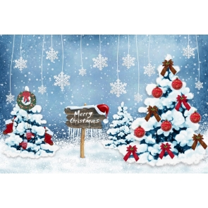 White Snow Christmas Trees Painted Picture Photography Backdrops