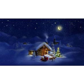 Night Santa Claus Christmas Trees White Snow Photographic Backdrops