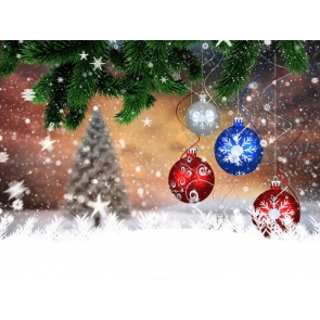 Christmas Balls Tree Leaves Photo Wall Backdrop for Pictures