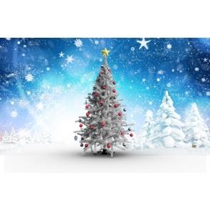 White Snow Christmas Trees Snowflakes Blue Background Camera Backdrops