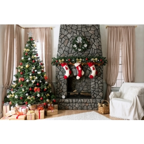 Christmas Tree Socks Gifts Indoor Photo Drop Background