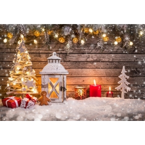 Christmas Tree Candles White Snow Wood Background Photo Backdrop