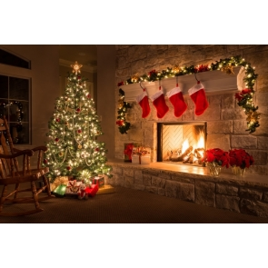Christmas Tree by Fireplace Red Socks Christmas Party Camera Backdrops