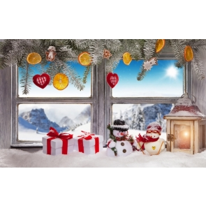 Winter White Snow Snowman Christmas Party Photo Prop Background