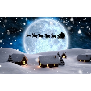 White Snow Houses David's Deer Moon Professional Photo Backdrops