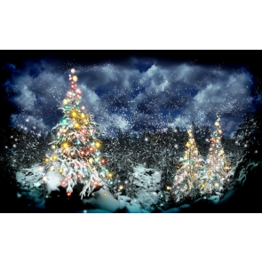 Night Christmas Trees Party Photography Background Props